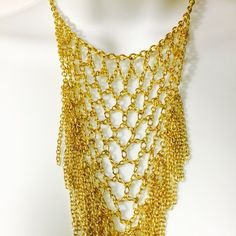 Gold Mesh and Chainlink Necklace Set Gold tone dangling chain link necklace set. Fashion jewelry Jewelry Necklaces