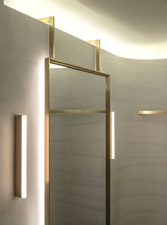 Striated concrete partitions create fitting rooms at thakoon's first boutique fashion shop interior, boutique interior Boutique Interior, Fashion Shop Interior, Retail Interior, Modern Interior Design, Interior Ideas, Wc Public, Bathroom Mirror Design, Bathroom Layout, Bathroom Interior