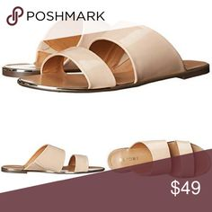 Metallic Nude Double Strap Sandal Add a pop of shine and finesse with these dazzling flats this season! Leather upper boasts a metallic, glossy finish. Slip-on construction. Double strap silhouette. Open toe. Man-made lining and footbed. Man-made outsole. Imported. Heel Height: 1⁄4 in Nude Report Shoes Sandals