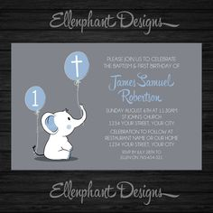 Baptism and First Birthday invitation, 1st, joint, christening, elephant, boy, blue, balloon, custom invite, digital file, DIY printable, by ellenphant on Etsy https://www.etsy.com/listing/269650969/baptism-and-first-birthday-invitation