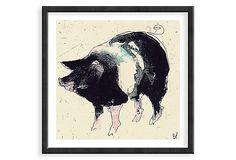 Bella Pieroni, Pig Framed Print on OneKingsLane.com