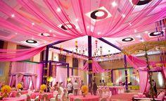 Indian wedding, traditional Indian wedding, pink lounge