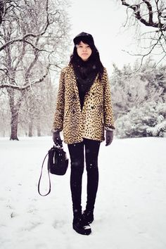 ASOS Coat in Leopard with Button Front