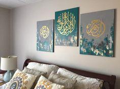 Islamic Teal Home Decor, Modern Islamic Art, Arabic Calligraphy BismiAllah Ar -Rahman Ar -Rahim Islamic Wall Decor Abstract Islamic Painting