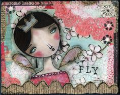 FLY  Original Mixed Media on gallery artists by MySeptemberMoon, $169.00