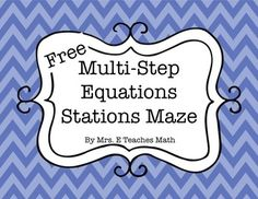 FREE Solving Multi-Step Equations Stations Maze Activity I think we should try this. Student Teaching, Math Teacher, Math Classroom, Teacher Stuff, Teaching Ideas, Classroom Ideas, Classroom Resources, Math Resources, Algebra Activities