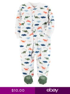 eadb5ddfe New Carters Fleece Sleep n Play Dinosaur Print Newborn 3m 6m 9m NWT Boys  Dino Carters