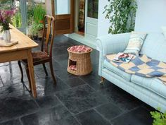 you cannot have a country kitchen without a black flagstone floor