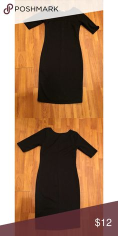 Black fitted dress Form fitting medium/below the knee length black dress, professional or business casual. Worn to an audition once Timing Dresses Midi