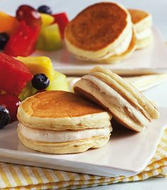 Make pancakes using Bisquick® mix and sandwich two of them with maple cream in between for a delicious whoopie pie - perfect for breakfast. (use gf bisquick. Pie Recipes, Brunch Recipes, Breakfast Recipes, Dessert Recipes, Breakfast Ideas, Breakfast Pancakes, Pancakes And Waffles, Breakfast Time, Macarons