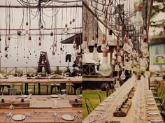 Suspended Edison bulbs for outdoor wedding reception.perfection!