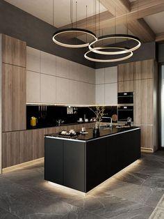Kitchen Room Design, Luxury Kitchen Design, Kitchen Cabinet Design, Luxury Kitchens, Home Decor Kitchen, Interior Design Kitchen, Modern Apartment Design, Apartment Interior, Kitchen Ideas