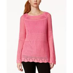 Ny Collection Open-Knit Tunic Sweater featuring polyvore, women's fashion, clothing, tops, sweaters, azalea pink, open knit top, pattern sweater, print tops, ny collection and bell sleeve sweater