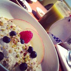 Breakfast at Klaus in Paris, France.   #klaus #breakfast #paris #boiledegg #egg #birchermuesli #muesli #healthy