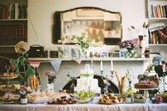 rustic baby shower - a homemade food feast and casual floral arrangements, simply gorgeous