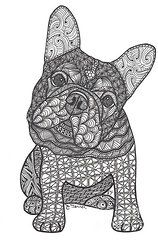Zentangle Art Art - Can We - French Bulldog by Dianne Ferrer