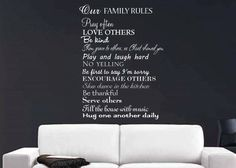 Our family rules wall decal by GrabersGraphics on Etsy, $28.00