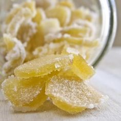 Candied Ginger - this is so easy to make and so yummy - save a couple of the eyes of the raw ginger to grow more ginger ! ginger is good for digestion and is effective for stopping nausea Candy Recipes, New Recipes, Snack Recipes, Dessert Recipes, Favorite Recipes, Eating Alone, Food Hacks, Healthy Snacks, Stay Healthy