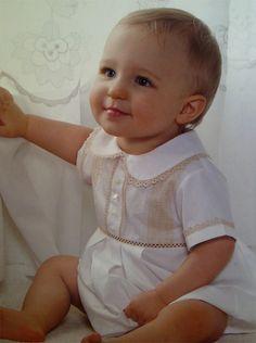 Baby boy bubble - white with ecru trim