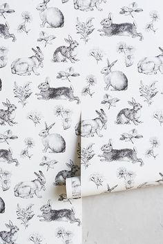 Toile Lapin Wallpaper for modern nursery room Design Room, Interior Design, Rabbit Wallpaper, Toile Wallpaper, Nursery Wallpaper, Bathroom Wallpaper, Cottage Wallpaper, Farmhouse Wallpaper, Animal Wallpaper