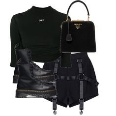 fashion look created by europeancloset featuring Jadon Boot, cropped logo top, , Prada Crystal-embellished velvet tote . Browse and shop related looks. Kpop Fashion Outfits, Stage Outfits, Edgy Outfits, Mode Outfits, Grunge Outfits, Trendy Fashion, Korean Fashion, Fashion Clothes, Mode Kpop