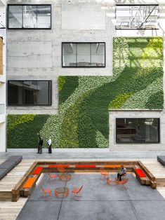 Vertical green wall as part of exterior architecture, terrace Architecture Design, Green Architecture, Landscape Architecture, Landscape Design, Interior Design Magazine, Vertical Green Wall, Green Facade, Concrete Interiors, Vertical Farming