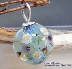 Artist Lampwork Pendant by Manuela Wutschke - Winter Cocoon - Handmade lampwork glass round bead and silver