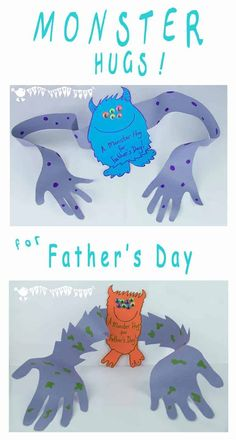 """A super cute Father's Day card for the children to make for Daddy. A """"Monster Hug"""" from Daddy's little monster! MONSTER HUG - A super cute Father's Day card for the children to make for Daddy. A """"Monster Hug"""" from Daddy's little monster! Kids Fathers Day Crafts, Fathers Day Art, Homemade Fathers Day Gifts, Diy Father's Day Gifts, Father's Day Diy, Homemade Gifts, Diy For Kids, Gifts For Kids, Gifts For Daddy"""