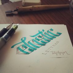 3D Lettering with Parallel Pen and Pencil by Tolga Girgin | The Dancing Rest