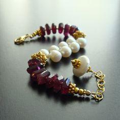 Rhodolite Garnet Nuggets Freshwater Pearls Bracelet - Desiree Bracelet