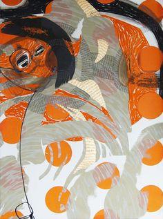 Steph Houstein: Bonescape 76, silkscreen & mixed media, 56x76cm
