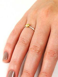 anel bolota feito em prata 950 e ouro artesanalmente por kika rufino