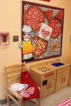 Pizza bulletin board for dramatic play pizza shop! Preschool Centers, Preschool Classroom, Classroom Decor, Preschool Activities, Dramatic Play Themes, Dramatic Play Area, Dramatic Play Centers, Restaurant Themes, Pizza Restaurant