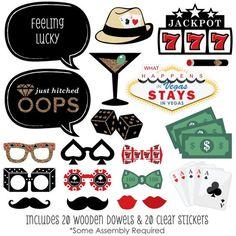 Amazon.com: Las Vegas - Casino Photo Booth Props Kit - 20 Count: Toys & Games