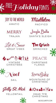 12 Free Holiday Fonts - perfect free fonts for holiday cards, holiday party invitations, printables, gift guides, and more