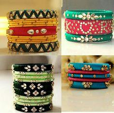 Silk Thread Bangles Design, Silk Thread Necklace, Beaded Necklace Patterns, Thread Jewellery, Jewelry Patterns, Chuda Bangles, Kundan Bangles, Silk Bangles, Kundan Set