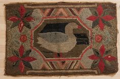 Lot:American hooked rug with duck, late 19th c., 39, Lot Number:203, Starting Bid:$150, Auctioneer:Pook & Pook, Inc., Auction:American hooked rug with duck, late 19th c., 39, Date:05:00 AM PT - Oct 11th, 2013