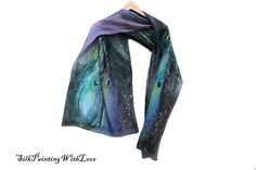 MADE to ORDER Silk scarf hand-painted name. Purple Peacock, Wedding Shawl, Hand Painted, Turquoise, Silk, Trending Outfits, Unique Jewelry, Vintage, Black