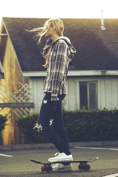 Plaid jacket, cool jeans, Converse, and skater swag.
