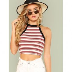 To find out about the Contrast Binding Striped Halter Crop Top at SHEIN, part of our latest Tank Tops & Camis ready to shop online today! Crop Top Halter, Diy Crop Top, Cropped Tank Top, Crop Shirt, Crop Tank, Fashion News, Fashion Outfits, Fashion Trends, Fashion 2018
