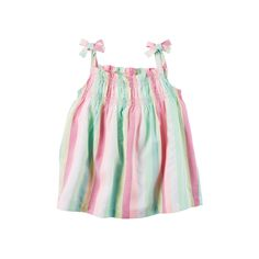 Toddler Girl Carter's Woven Multi-Colored Striped Bow Tank Top, Size: 3T, Ovrfl Oth