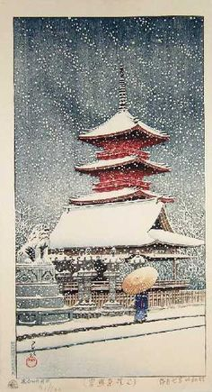 "HASUI -- ""Snow at Ueno Toshogu Shrine"" #91/100"