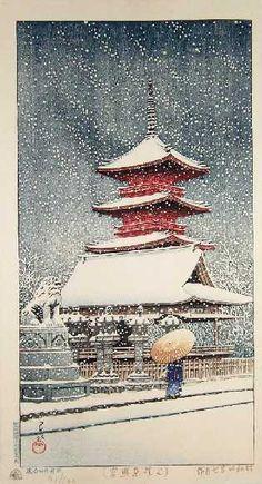 "HASUI -- ""Snow at Ueno Toshogu Shrine"" #91/100"