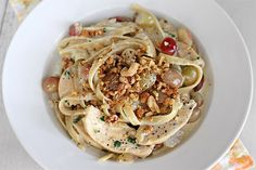 Chicken Fettucine with Blue Cheese, Walnuts and Grapes