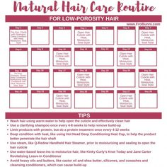 nother regimen template, this time for low-porosity hair. Some important things … nother regimen template, this time for low-porosity hair. Some important things to remember for caring for low-porosity hair. Use gentle Best Natural Hair Products, Natural Hair Regimen, Natural Hair Tips, Natural Hair Journey, Natural Hair Growth, Natural Hair Styles, Natural Curls, Natural Beauty, Low Porosity Hair Products