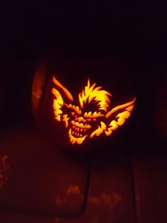 My pumpkin carving of Spike from Gremlins Halloween Pumpkin Designs, Halloween Pumpkins, Halloween Scene, Fall Halloween, Pumpkin Carvings, Gremlins, Lanterns, October, Fun