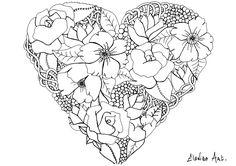 Elanise art flowers in a heart | From the gallery : Flowers And Vegetation | Artist : Elanise Art