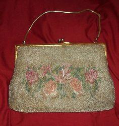 antique rose bud floral bag
