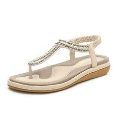 88d2ad4ba62f55 US Shoe Size Women Casual Flat Sandals Summer Beach Rhinestone Elastic T- Strap  fashion