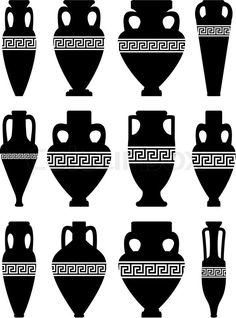 Stock vector of 'Et of black silhouettes of ancient amphorae and vases with traditional Greek abstract meander pattern -  isolated illustration on white background'